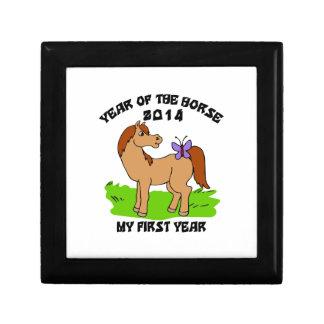 Año nacido del bebé 2014 del caballo caja de joyas