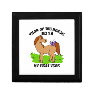 Año nacido del bebé 2014 del caballo joyero cuadrado pequeño