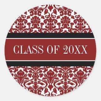 Año negro rojo del personalizado de la graduación pegatina redonda