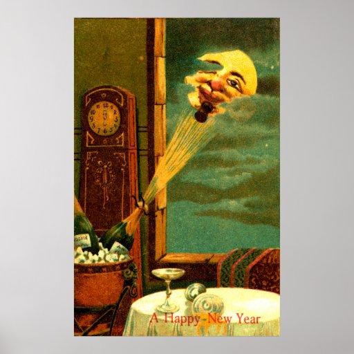 Año Nuevo 1908 de Champán Póster