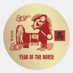 Año Nuevo 2014. Año chino de los pegatinas del Pegatinas Redondas
