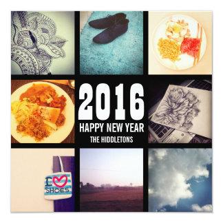 """Año Nuevo 2 del collage 2016 de la foto de Invitación 5.25"""" X 5.25"""""""