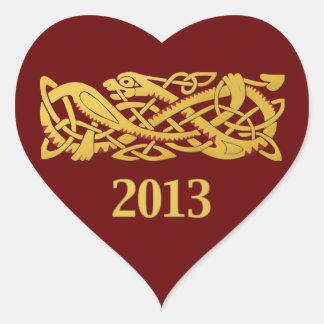 Año Nuevo chino - año de la serpiente 2013 Pegatina En Forma De Corazón
