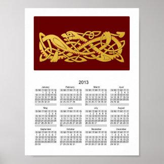 Año Nuevo chino - año del calendario de la serpien Posters