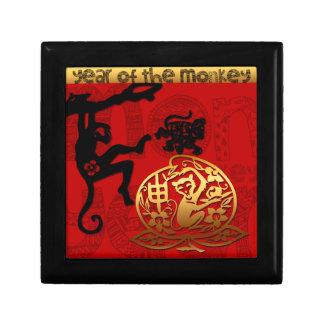 Año Nuevo chino de la caja de regalo del mono Joyero Cuadrado Pequeño