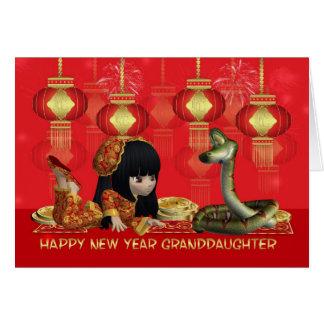 Año Nuevo chino de la nieta - año de la serpiente Tarjeta De Felicitación