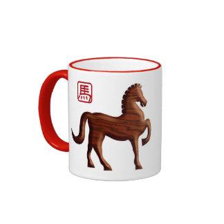Año Nuevo chino de la taza de madera del caballo
