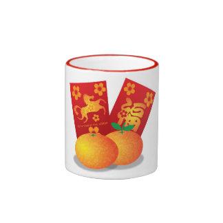 Año Nuevo chino de las mandarinas del caballo Taza