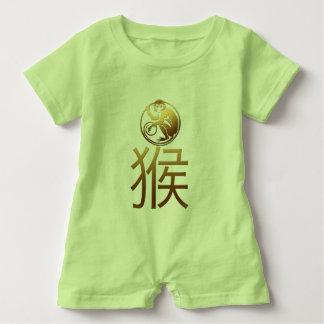 Año Nuevo chino del bebé verde del mono 2016 Polera