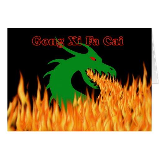 Año Nuevo chino del gongo XI Fa Cai del dragón Tarjeta De Felicitación