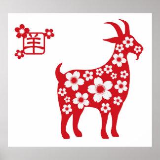 Año Nuevo chino del poster de la cabra