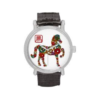 Año Nuevo chino del reloj de madera de los engrana