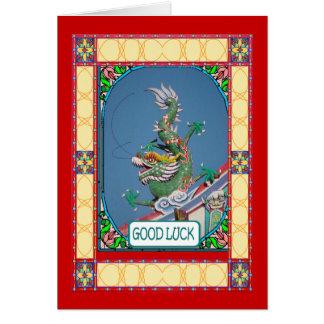 Año Nuevo chino, dragón del templo Tarjeta De Felicitación