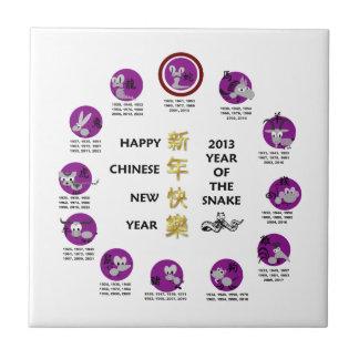 Año Nuevo chino feliz 2013 años de la serpiente Azulejo Cuadrado Pequeño
