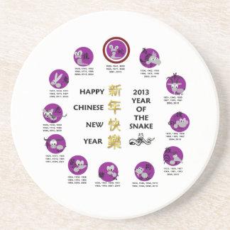 Año Nuevo chino feliz 2013 años de la serpiente Posavasos Diseño