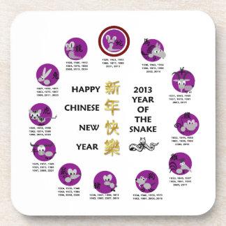 Año Nuevo chino feliz 2013 años de la serpiente Posavasos De Bebidas