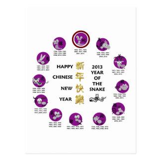 Año Nuevo chino feliz 2013 años de la serpiente Postales