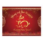 Año Nuevo chino feliz - año del conejo Postal