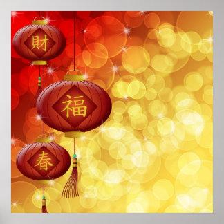 Año Nuevo chino feliz con el ejemplo de las linter Póster