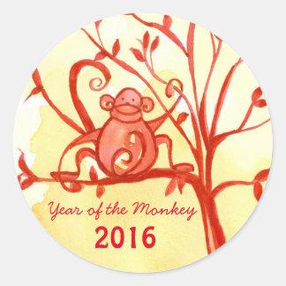 Año Nuevo chino feliz del mono Pegatina Redonda