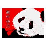 Año Nuevo chino feliz: panda asiática Tarjetas