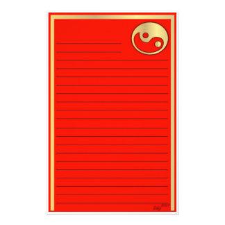 Año Nuevo chino rojo del oro de Yin Yang Papeleria