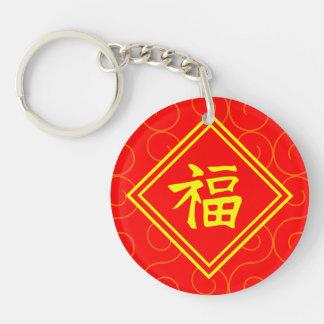 Año Nuevo chino • Símbolo afortunado de Fu • Rojo Llavero