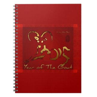 Año Nuevo chino y vietnamita de la cabra de oro Libro De Apuntes Con Espiral
