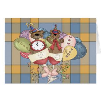 Año Nuevo chispeante de los osos Tarjeta De Felicitación
