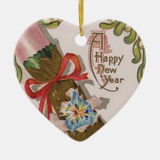 Año Nuevo con el caramelo rosado Adorno Navideño De Cerámica En Forma De Corazón