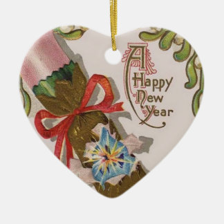 Año Nuevo con el caramelo rosado Adorno De Cerámica En Forma De Corazón