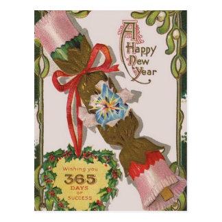 Año Nuevo con el caramelo rosado Postal