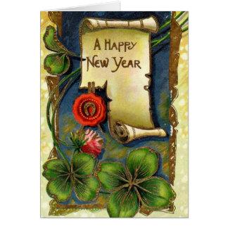 Año Nuevo con el trébol de cuatro hojas Tarjeta De Felicitación