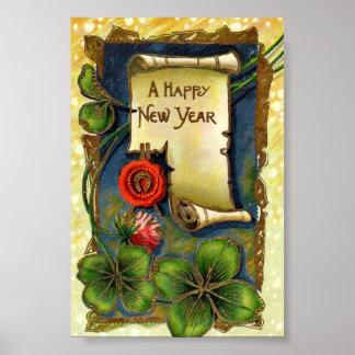 Año Nuevo con la flor rosada Poster