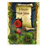 Año Nuevo con la flor rosada Postal