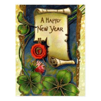 Año Nuevo con la flor rosada Tarjetas Postales