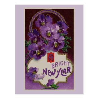 Año Nuevo con las flores púrpuras Postal