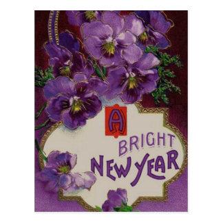 Año Nuevo con las flores púrpuras Tarjetas Postales