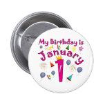 Año Nuevo cumpleaños del 1 de enero Pin