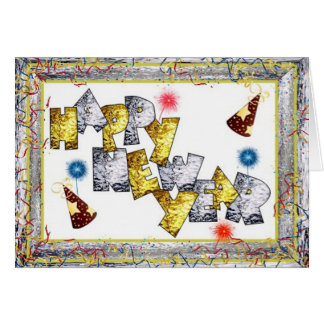 Año Nuevo de Happpy en vitral Tarjeta Pequeña