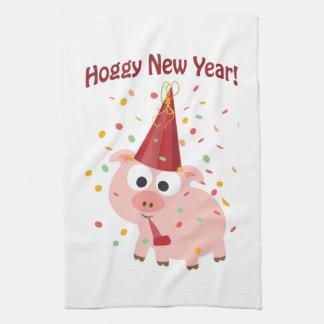 ¡Año Nuevo de Hoggy! Toallas De Cocina