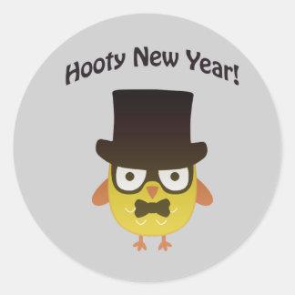 ¡Año Nuevo de Hooty! Búho del inconformista Pegatina Redonda