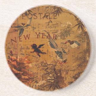 Año Nuevo de la canción del pájaro Posavasos Cerveza
