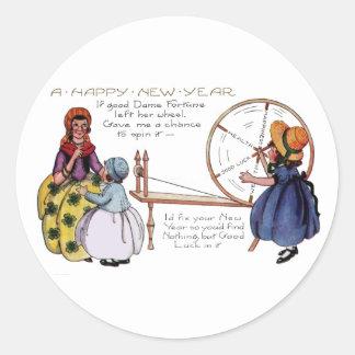 Año Nuevo de la rueda de hilado Lucky de dama Pegatina Redonda