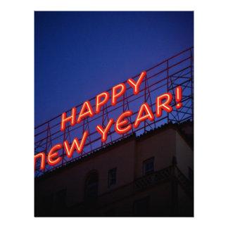 Año Nuevo de neón Membrete A Diseño
