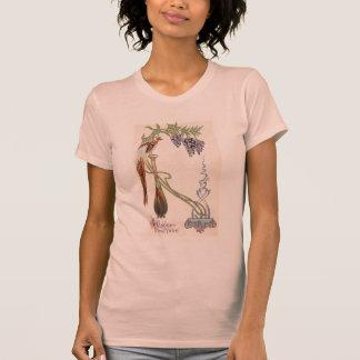Año Nuevo de Nouveau del arte del pájaro del flor Camiseta