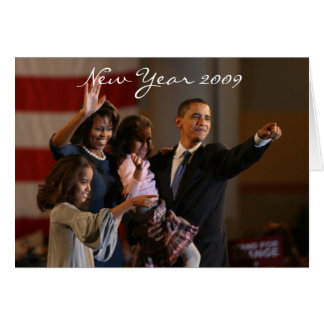 Año Nuevo de presidente Obama First Family Keepsak Tarjeton