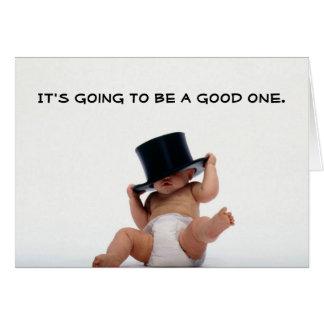 Año Nuevo del bebé con la invitación del sombrero  Felicitaciones