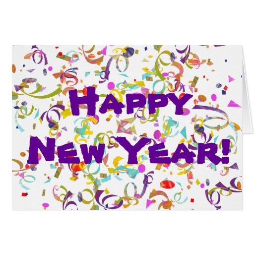 Año Nuevo del confeti colorido Tarjeta De Felicitación