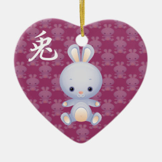 Año Nuevo del ornamento del conejo Adorno De Cerámica En Forma De Corazón